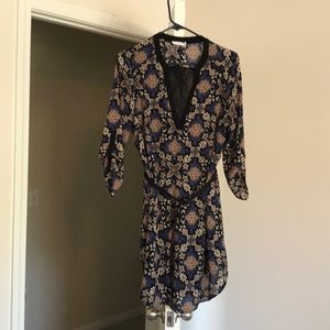 Belted 3/4 sleeve shift dress